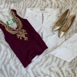 Lucky Brand Mollie Crop White Jeans Pants 2 26 XS